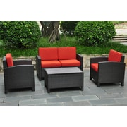 International Caravan Barcelona 4 Piece Deep Seating Group with Cushions; Black / Spice Red
