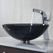 Kraus Glass Vessel Bathroom Sink with Single Handle Typhon Single Hole Faucet; Clear Black