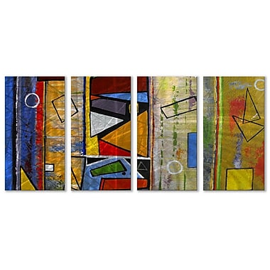 All My Walls 'Abstract' by Ruth Palmer 4 Piece Painting Print Plaque Set