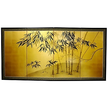 Oriental Furniture 18'' x 36'' Gold Leaf Bamboo 4 Panel Room Divider