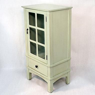Heather Ann Wooden Cabinet w/ Glass Insert; Light Green