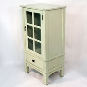 Heather Ann Wooden Cabinet with Glass Insert; Light Green