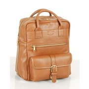 Aston Leather Top Zipper Backpack with Front Pocket; Tan