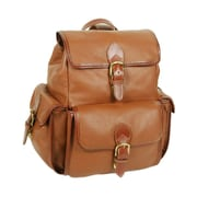 Aston Leather Drawstring Backpack with Front Flap; Tan