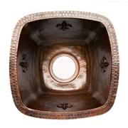 Premier Copper Products Fleur De Lis 15'' x 15'' Square Copper Bar Sink; 3.5''