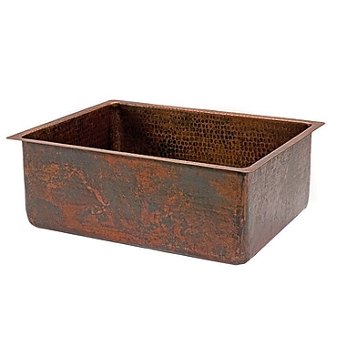 Premier Copper Products 25'' x 19'' Hammered Single Bowl Kitchen Sink
