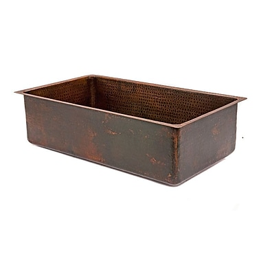 Premier Copper Products 33'' x 19'' Hammered Single Bowl Kitchen Sink