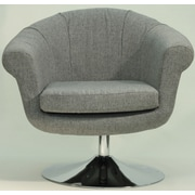 Fox Hill Trading Overman Disc Base Lounge Chair; Light Gray