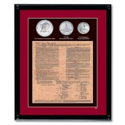 American Coin Treasure U.S. Constitution with All 3 Bicentennial Coin Wall Framed Memorabilia