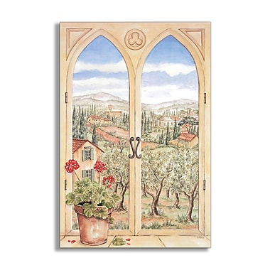 Stupell Industries Tuscany Faux Window Scene Original Painting Wall Plaque