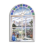 Stupell Industries Stained Glass Faux Window Scene Original Painting Wall Plaque