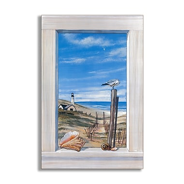 Stupell Industries Ocean w/ Seagulls Faux Window Scene Original Painting Wall Plaque