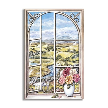 Stupell Industries Iron and Cabbage Rose Wooden Faux Window Scene Original Painting Wall Plaque