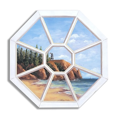 Stupell Industries Octagon Lighthouse' Faux Window Scene Original Painting Wall Plaque