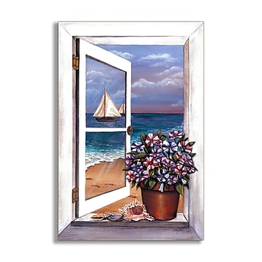 Stupell Industries Seascape w/ Petunias Faux Window Scene Original Painting Wall Plaque