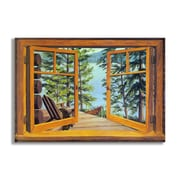 Stupell Industries Cabin and Lake Faux Window Scene Wall Plaque