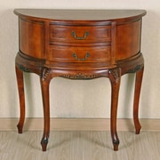 International Caravan Windsor Half-Moon Hand Carved Console Table