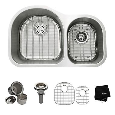 Kraus 31.5'' x 20'' 6 Piece Undermount 60/40 Double Bowl Kitchen Sink