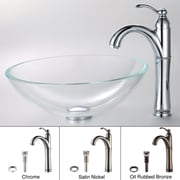 Kraus Crystal Clear Glass Vessel Sink and Riviera Faucet; Chrome