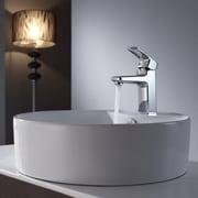 Kraus Virtus Round Ceramic Bathroom Sink with Basin Faucet; Chrome