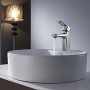 Kraus Virtus Round Ceramic Bathroom Sink with Basin Faucet; Brushed Nickel