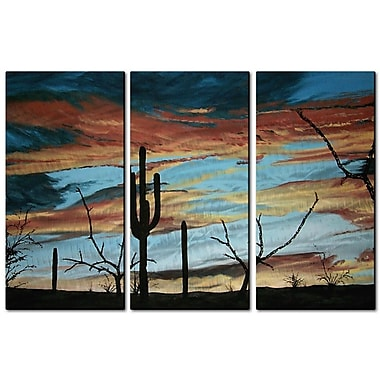All My Walls 'Sunset w/ Saguaro III' by Patricia Ackor 3 Piece Painting Print Plaque Set