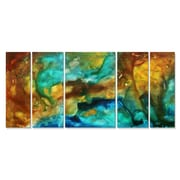 All My Walls 'River of Rust' by Megan Duncanson 5 Piece Original Painting on Metal Plaque Set