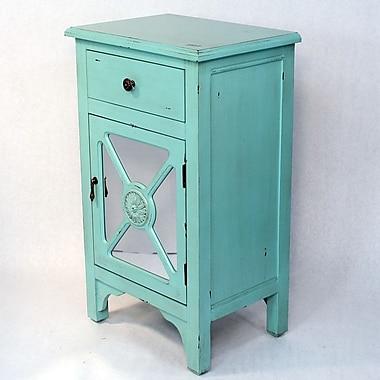 Heather Ann Wooden Cabinet w/ Mirror Insert; Tourquoise