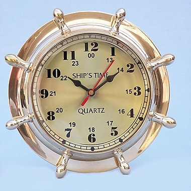 Handcrafted Nautical Decor 8'' Nautical Double Dial Wheel Wall Clock