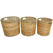 Oriental Furniture Rush Grass Round Waste Bin (Set of 3)