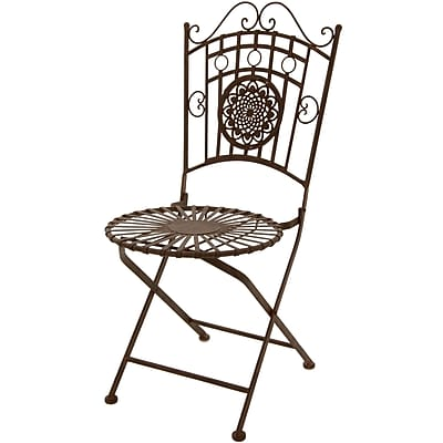 Oriental Furniture Dining Side Chair; Rust Patina