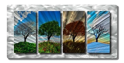 All My Walls 'Four Seasons' by Ash Carl Designs 4 Piece Graphic Art Plaque Set WYF078276444891