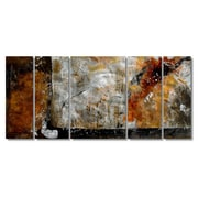 All My Walls 'Bronze Brushed' by Ruth Palmer 5 Piece Original Painting on Metal Plaque Set