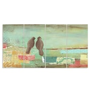 Stupell Industries Pastel Birds on Wire 4 Piece Textual Art Wall Plaque Set