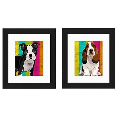 PTM Images Doggy Stripes 2 Piece Framed Graphic Art Set