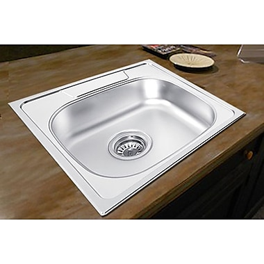 Ukinox 18.88'' x 18.88'' x 7.5'' Drop-in Single Bowl Kitchen Sink