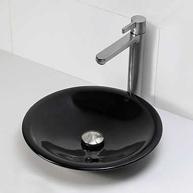 DecoLav Incandescence Round Vessel Bathroom Sink; Obsidian