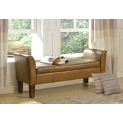 HomePop Faux Leather Storage Bench; Camel