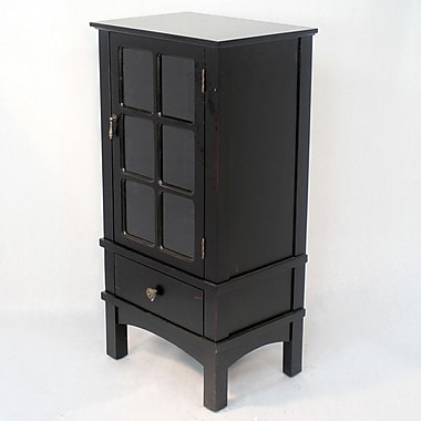 Heather Ann Wooden Cabinet w/ Glass Insert; Black