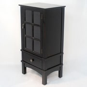 Heather Ann Wooden Cabinet with Glass Insert; Black