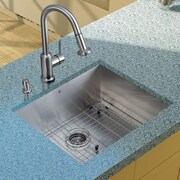 Vigo 23'' x 20'' Undermount Kitchen Sink with Faucet, Grid, Strainer and Dispenser