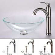Kraus Crystal Clear Glass Vessel Sink and Riviera Faucet; Satin Nickel
