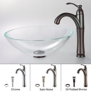 Kraus Crystal Clear Glass Vessel Sink and Riviera Faucet; Oil Rubbed Bronze