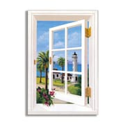 Stupell Industries Point Vincente Lighthouse Faux Window Scene Wall Plaque