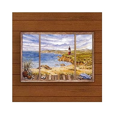 Stupell Industries Cloudy Coastline Faux Window Scene Wall Plaque