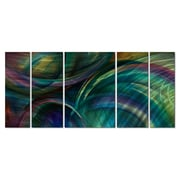 All My Walls 'Swipes of Color' by Michael Lang 5 Piece Original Painting on Metal Plaque Set