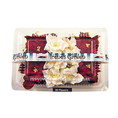 Alvin and Co. Irene's Garden O'Gardenia Flower Box (Set of 20); Burgundy / White