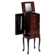Bernards Jewelry Armoire with Mirror; Cherry