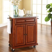 Crosley Cuisine Kitchen Cart with Granite Top; Classic Cherry