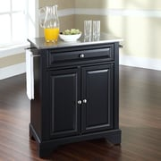 Crosley LaFayette Kitchen Cart with Stainless Steel Top; Black